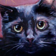 "StarryEyed Black Kitty Cat, custom Pet Portrait Oil Painting by puci, 8x8"" MXS $189.90"