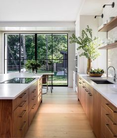 gorgeous natural woods and fresh greenery enhance this stunning modern kitchen design Mowery Marsh Architects Gorgeous kitchen decorating & design ideas, from cabinet choices to lighting, modern to classic, this gallery of kitchen images will inspire! Home Decor Kitchen, House Design, Interior, Home, House Styles, House Interior, Modern Kitchen Design, Home Interior Design, Interior Design