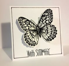 Stamper: Suzy I embossed the Stipple Butterfly stamp (all time favorite way back when I did Stampin UP!) and fussy cut it to add dimension to this 4x4 square card