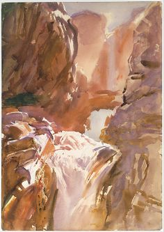 Mountain Torrent-  John Singer Sargent, watercolor, graphite and wax crayon on paper