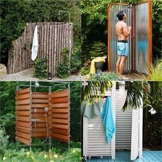 32 inspiring DIY outdoor showers: lots of ideas on how to build enclosures with simple materials, best outdoor shower fixtures, creative designs and more! Outdoor Shower Kits, Outdoor Shower Enclosure, Outdoor Showers, Diy Greenhouse, Diy Bed, Shade Plants, Shade Garden, Garden Beds, Garden Projects