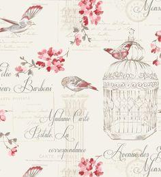 Papel pintado vintage con jaulas pájaros y letras tonos rojos - 40933