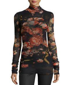FUZZI FLORAL-PRINT STRETCH-TULLE TURTLENECK, BLACK/RED. #fuzzi #cloth #