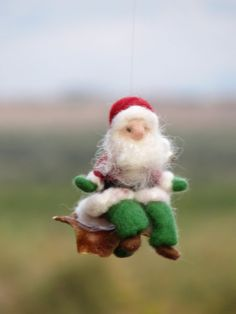 Needle felted Santa Claus Christmas ornament by Made4uByMagic