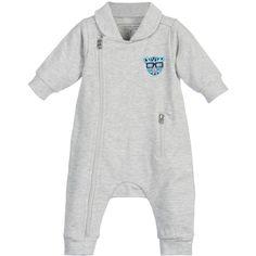 Little Marc Jacobs Baby Boys Grey Jersey Romper Suit at Childrensalon.com
