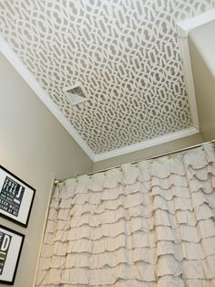 A stenciled ceiiling is as dramatic as it is affordable. MichelleHinckleyof 4 Men 1 Ladyfound this graphic lattice design and stenciled it with beige and the same gray hue used on the walls. The result? A dramatic focal point that's bold and trendy.