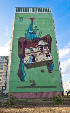 murals street art graffiti sainer bezt etam cru 5 Boring Buildings turned into Beautiful StreetArt 3d Street Art, Street Art Artiste, Urban Street Art, Best Street Art, Murals Street Art, Amazing Street Art, Street Art Graffiti, Street Artists, Wall Street