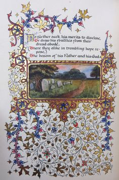 """An illuminated manuscript of Thomas Gray's """"Elegy Written in a Country…"""