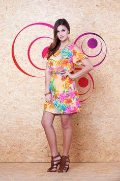 Vestido Estampado Manga Vazada VVE 211 #mundoErreErre #lookbook #verao2015 www.erreerre.com.br