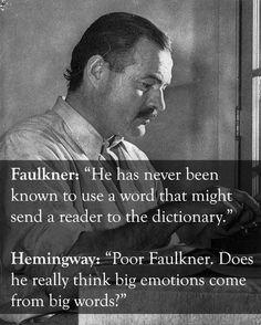 Earnest Hemingway vs. William Faulkner: