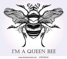 Beautiful hand drawn Honey Bee Queen beetle. Vintage style tattoo vector art. Engraving romantic Victorian collection illustration isolated on white and silver. Print fabric design. Linear decoration.