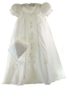 Infant Girls White Embroidered Christening Gown & Bonnet