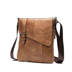 Famous Brand Designer Genuine Leather Men Bag Vintage Business Leather Men Messenger Bag Briefcase Casual Crossbody Bag WMB0121