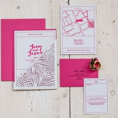 Pink palm wedding stationery by Cutture #littlebookforbrides #stationery #weddingstationery #palm #pinkwedding