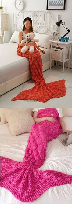 room decoration, mermaid blanket, red mermaid blanket, sofa mermaid blanket, mermaid tail blanket