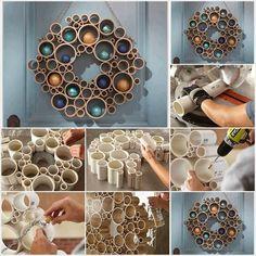 Une belle couronne avec des tuyaux en PVC Pour ce faire, vous aurez besoin de tuyaux en PVC, de colle, de deux vis moletées et d'une chaîne. D'abord, coupez les tuyaux en PVC en différentes parties - d'une longueur égale à 12,5 cm. Ensuite, placez les pièces autour d'un objet circulaire, comme indiqué sur l'image. Collez les morceaux ensemble et attendez que tout soit sec.Ensuite, colorez le tout de la couleur de votre choix. Enfin, attachez la chaîne à l'aide des vis. Et voilà!