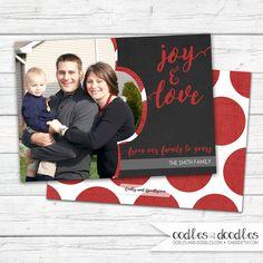 Chalkboard Christmas Card | Red Polka Dots Holiday Photo Card | Digital printable file or printed | Available at OandD.etsy.com