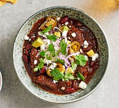 This easy chilli con carne recipe is a quick and classic sharing option for a casual night with friends. Find out how to make it at BBC Good Food. Chilli Con Carne Recipe, Beef Chilli Dry Recipe, Easy Chilli, Vegetable Puree, Bbc Good Food Recipes, Vegetarian Recipes, Spice Mixes, Chili, Chili Con Carne