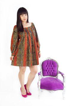 Alice Sosome mini smock Day Dress in Leopard print by . African Print Dresses, African Print Fashion, Africa Fashion, African Wear, African Attire, African Women, African Dress, Ankara Fashion, Afro