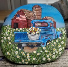 Stone Painting, Painting On Wood, Decorative Painting Projects, Truck Crafts, Rock Decor, Rock Painting Designs, Fairy Houses, Fall Harvest, Little Red