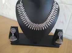 Antique oxidised german silver necklace with earrings