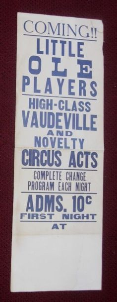 VINTAGE LITTLE OLE PLAYERS VAUDEVILLE NOVELTY CIRCUS ACTS POSTER ANTIQUE AD