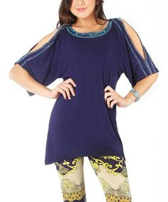 Take a look at this Navy Julianne Cutout Tunic by Joyous & Free on #zulily today!