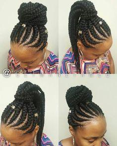 Trendy Weaving Hairstyles You Will Love Feed In Braid Cornrow Updo Hairstyles, Cornrow Ponytail, Braided Updo, Ghana Braids Updo, Ghana Cornrows, Goddess Braids Updo, Cornrow Designs, Braid Designs, Feed In Braid