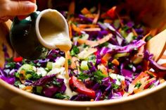 Over The Rainbow Cabbage Salad with Tahini-Lemon Dressing/ Red cabbage, carrot,celery, red pepper, parsley, toasted sesame, salt/pepper