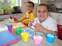 make your own puffy paint with shaving cream, school glue, and food coloring