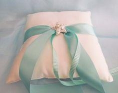 Ring Bearer Pillow Tiffany Blue and Cream Starfish Beach Wedding