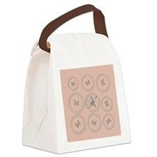 Pink Rose Gold Silver Butterfly Canvas Lunch Bag