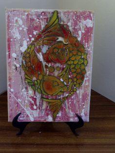 Tela,spray paint stencil art...CARPA KOI