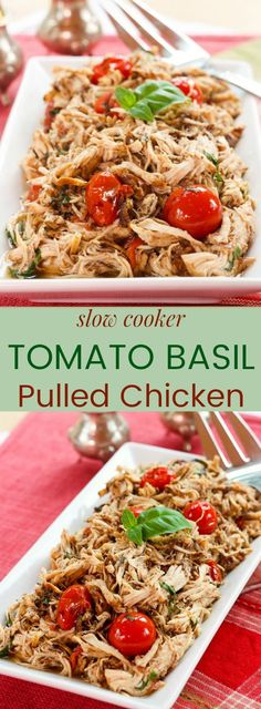 Slow Cooker Tomato Basil Pulled Chicken - a healthy and easy chicken dinner recipe from your crockpot. Serve over pasta or rice, or keep it gluten free, low carb, and paleo with cauliflower rice or zoodles.