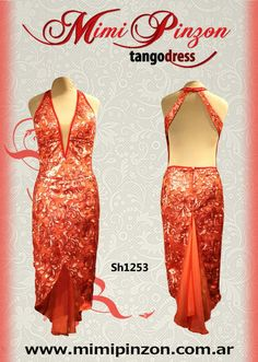 Vibrant tangerine velvet and lace tango dress. Something different on the dancefloor