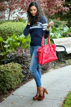 How to style a #holiday sweater. Nice #leather bag and shoes! #winter