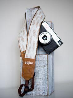 delikatny piórkowy pasek do aparatu, camera strap