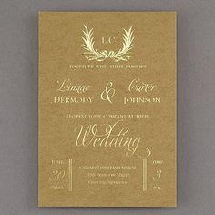 Natural Posh Wedding Invitation 40% OFF  |  http://mediaplus.carlsoncraft.com/Wedding/Wedding-Invitations/3285-RZ39179-Natural-Posh--Invitation.pro  |  RZ39179 You love posh. You also love the natural look. What to do? Choose this kraft board and foil wedding invitation with a wreath and typography design. Perfect!