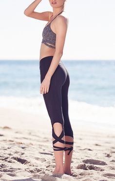 Workout leggings don't have to be boring! Love these tie-up details from Free People.