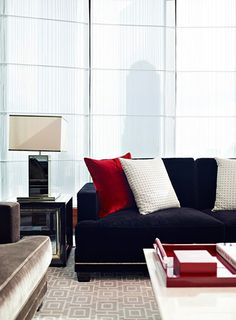 Living Room - Red, white & blue combo with soft textures and shiny metals.....chic.