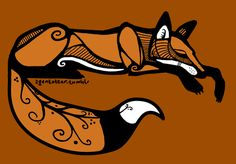 red fox tattoo | Sleeping Red Fox (Curled up variation) by agentotter