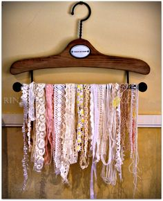 Ribbon 'n' Lace: What an amazingly beautiful way to store scraps.