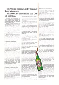 Neil French makes advertising you want to read. Over, and over, and over again. Like this one for Beck's Beer.