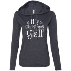 It's Christmas Y'all - Southern Holiday Ladies' Long Sleeve Shirt with Hoodie