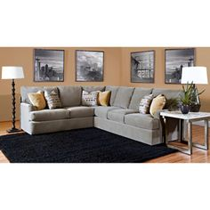 Lyndon Fabric Sectional FabricIncludes: Right Facing Left Facing Corner Accent PillowsHandcrafted in the USA Sectional Living Room Sets, Grey Sectional, Fabric Sectional, New Living Room, Living Room Decor, Gray Couches, Small Living, Interior Design Classes