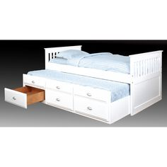 Bernards Twin Captains Bed with Trundle   from hayneedle.com