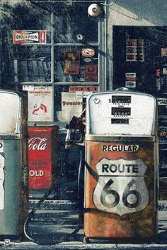 Route 66 signage. Everyone thinks I'm crazy, but id love to travel the old Route 66, and see all these iconic attractions