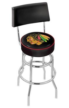 Use this Exclusive coupon code: PINFIVE to receive an additional 5% off the Chicago Blackhawks Bar Stool with Back - Black at SportsFansPlus.com