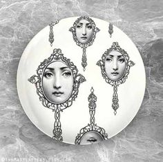 mirrors Cavalieri melamine plate by TheMadPlatters on Etsy