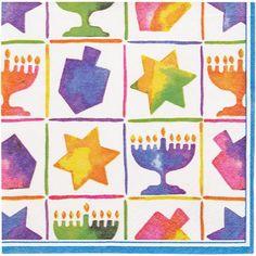 Hanukkah Symbols Beverage Napkins, 24-Count 1.29